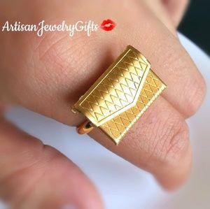 Gold Love Note Locket Envelope Love Letter Ring